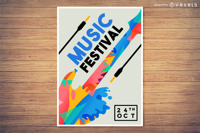 Diseño de cartel colorido festival de música.