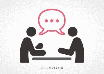 Reunión silueta con los hombres de negocios hablando