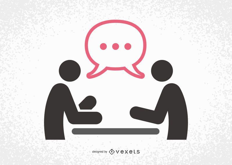 Reunião, silueta, com, falando, homens negócios