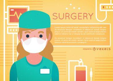 Mulher, cirurgião, ilustração, desenho