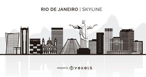 Skyline de silhueta do Rio de Janeiro