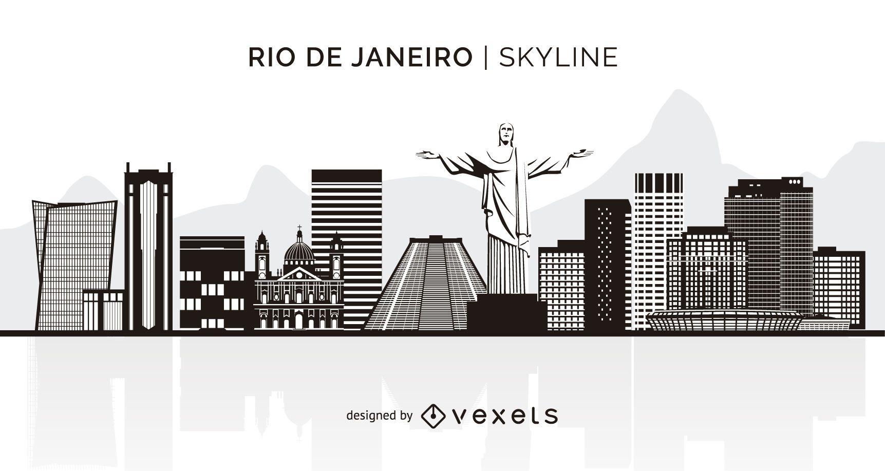 Rio de Janeiro silhouette skyline