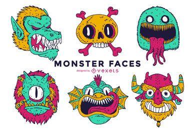 Coleção ilustrada de faces de monstros