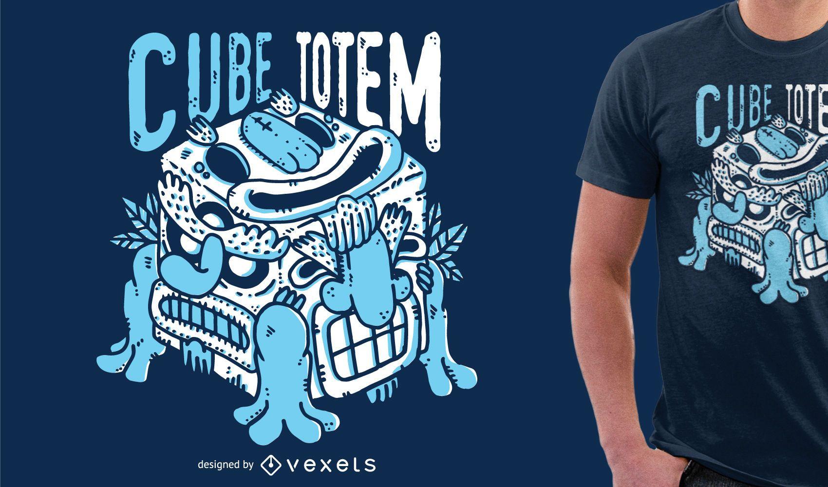 Mercancía de diseño de camiseta de monstruo azul