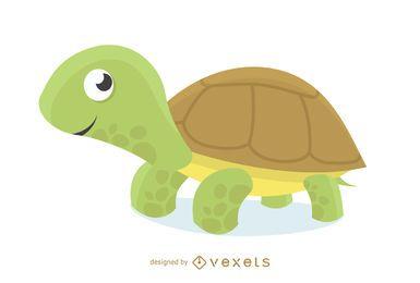Dibujos animados de ilustración de tortuga amigable