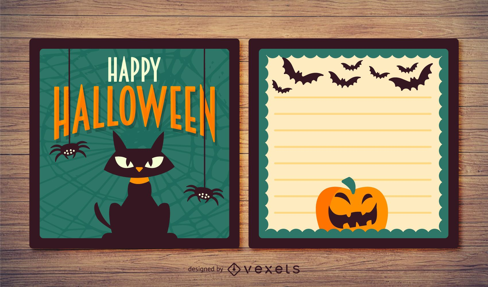 Tarjeta de Halloween espeluznante con gatos y calabazas