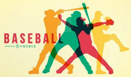 Póster de siluetas de béisbol.