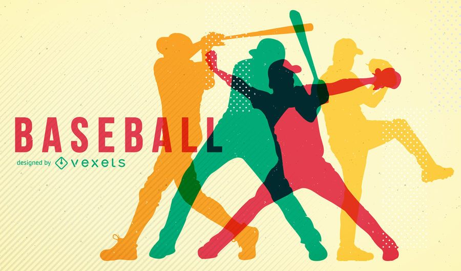 Poster das silhuetas do basebol