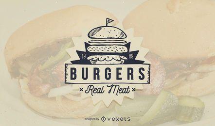 Diseño de plantilla de logotipo de comida rápida de hamburguesa
