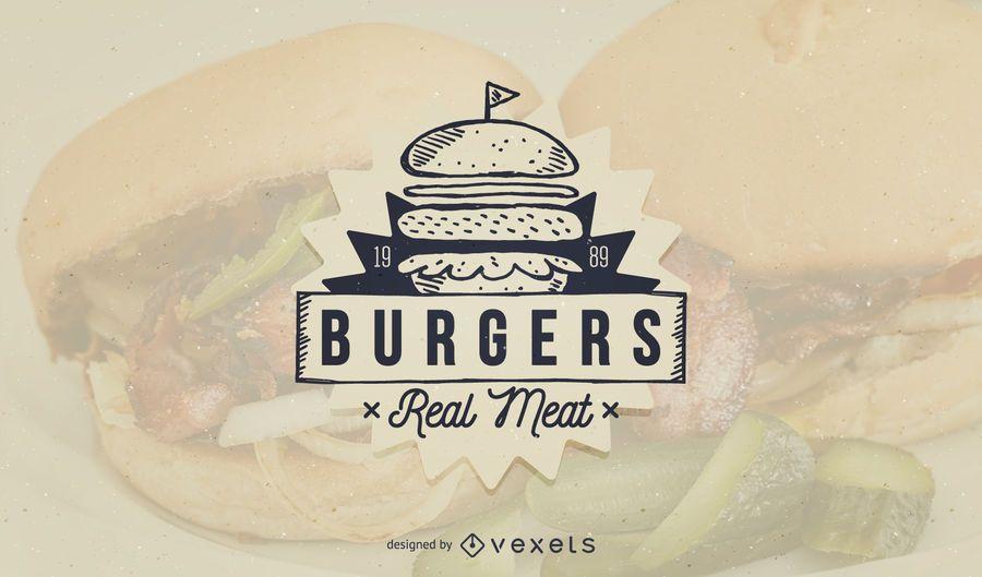 Design de modelo de logotipo de fast-food de hambúrguer