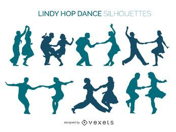 Lindy Hop dancers silhouette set