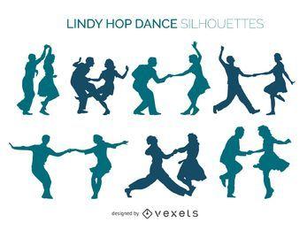 Lindy Hop dancers silhouette set