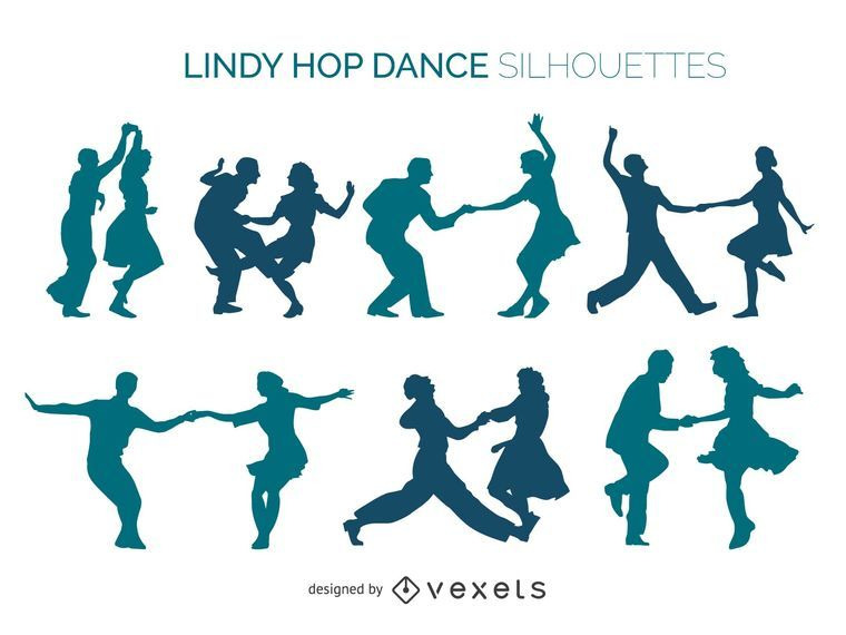 Conjunto de silueta de bailarinas de Lindy Hop