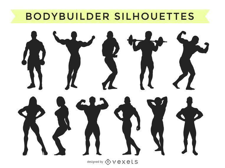 Bodybuilder silhouette collection