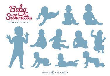 Coleção de silhuetas de bebê