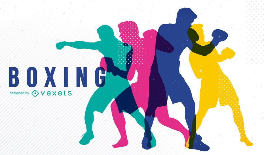 Boxing design with silhouettes