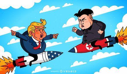 Donald Trump und Kim Jong-un-Cartoon auf Raketen gegeneinander