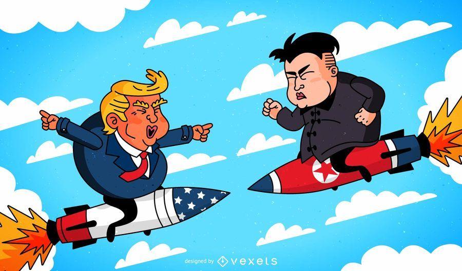 Donald Trump e Kim Jong-un cartoon em mísseis uns contra os outros