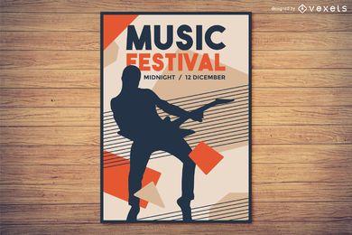 Festival de música con diseño de cartel con silueta.