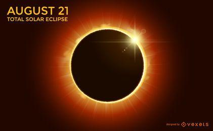 Diseño total de eclipse solar.