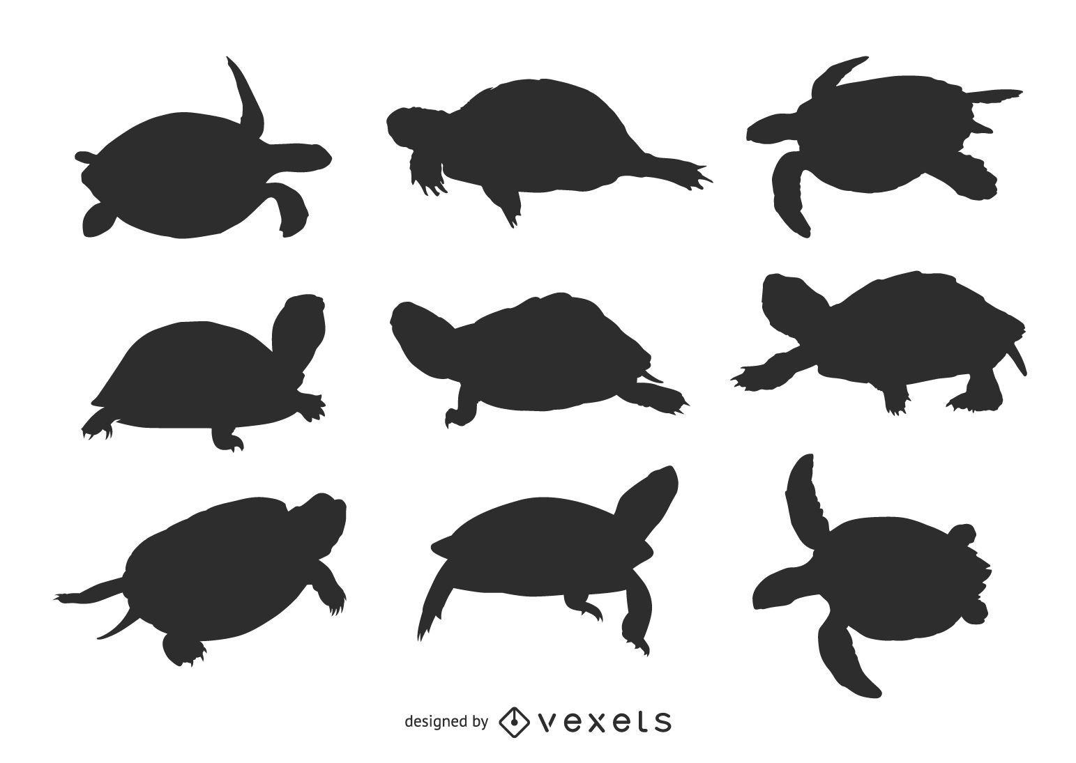 Conjunto de siluetas de tortugas