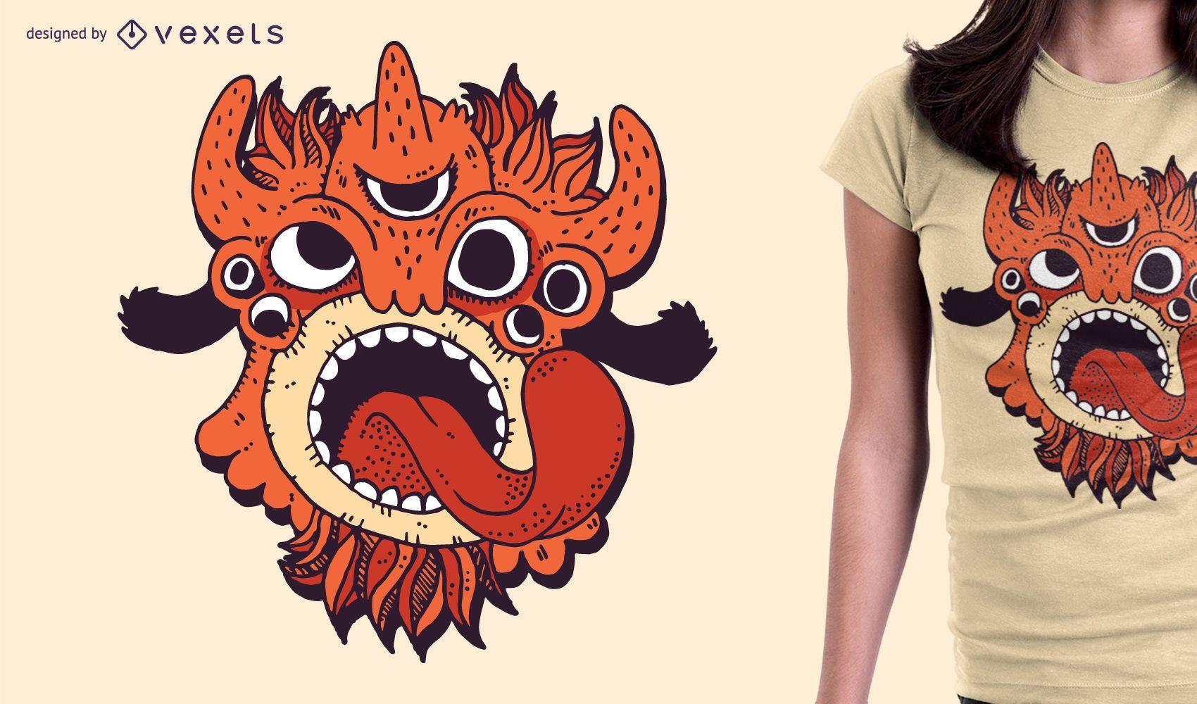 Ilustração de design de camiseta laranja monstro