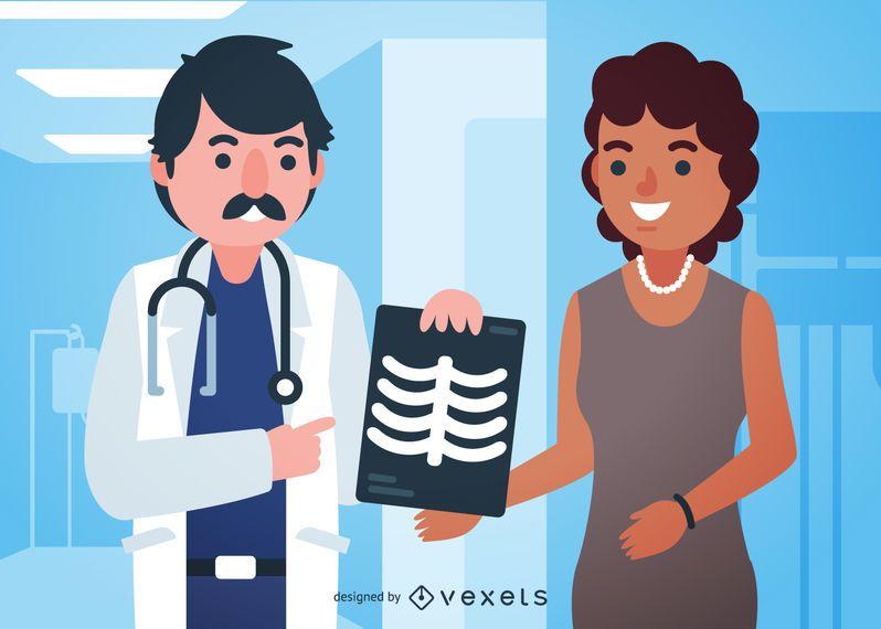 Ilustración del doctor con rayos xy paciente.
