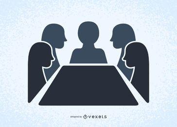 Gente en una reunión ilustrada de siluetas.