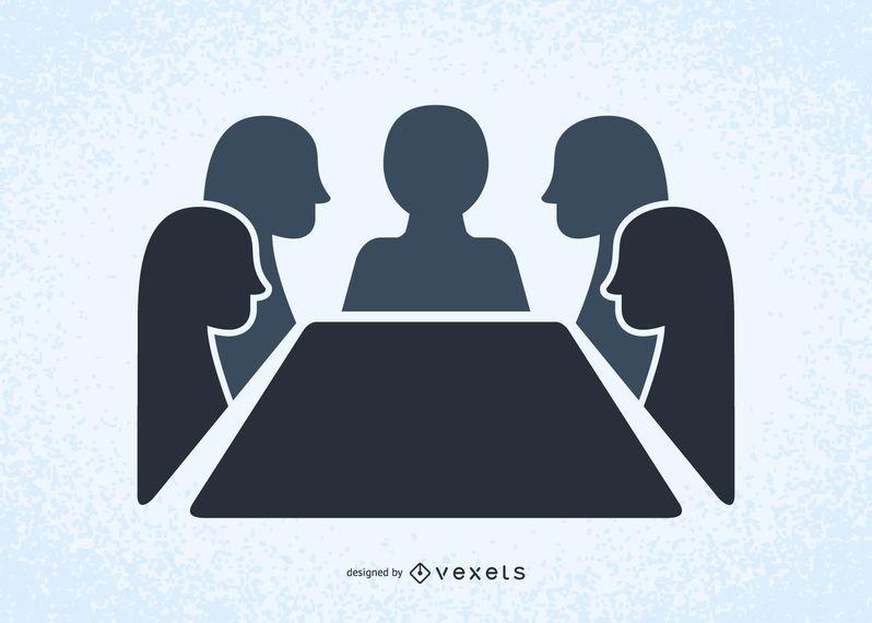 Pessoas, em, um, reunião, ilustrado, silhuetas