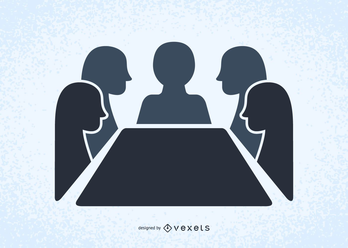 People in a meeting illustrated silhouettes