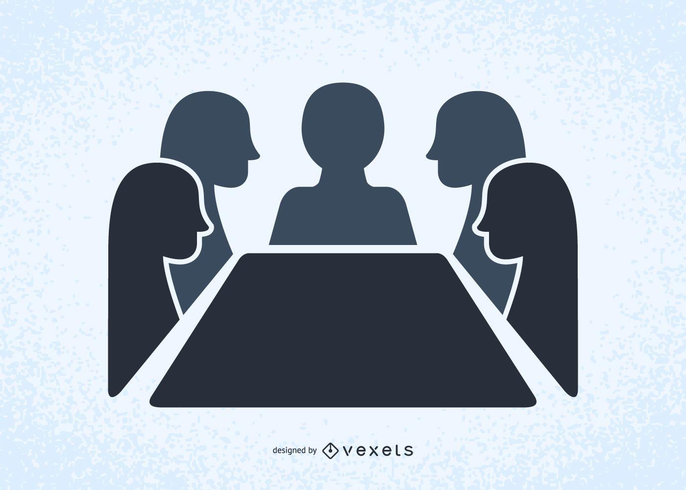 Personas en una reunión ilustraron siluetas
