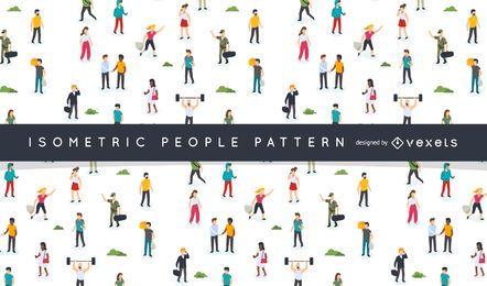 Diseño de patrón de personas isométricas