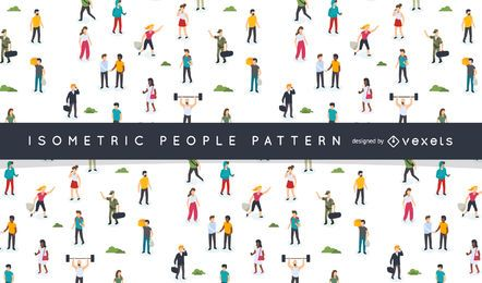 Isometric people pattern design