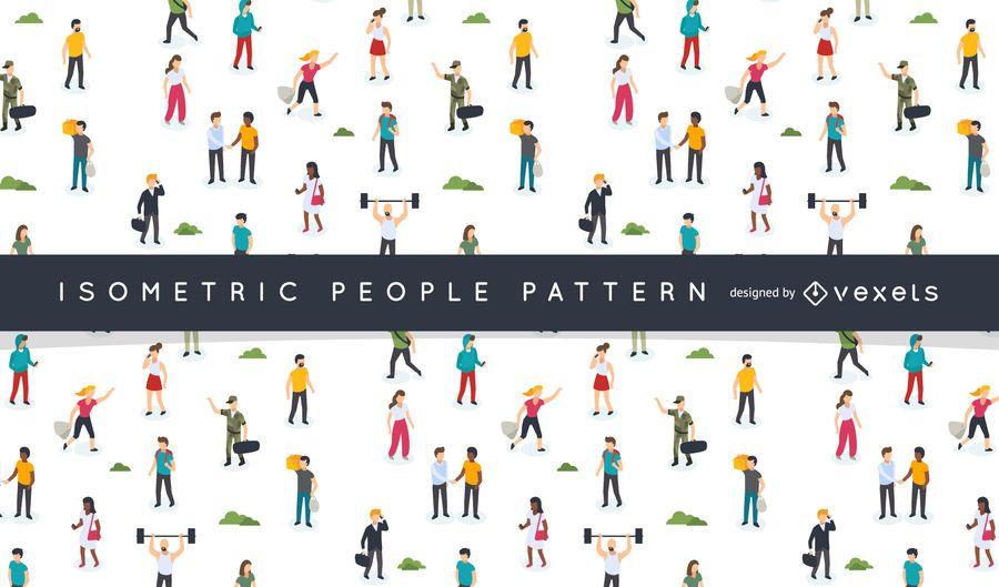 Design de padrão de pessoas isométrica