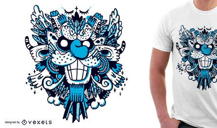 Design azul do tshirt do monstro para a mercadoria