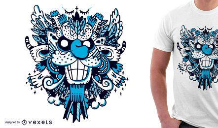 Diseño azul de la camiseta del monstruo para la mercancía