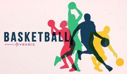 Cartel de la silueta del baloncesto