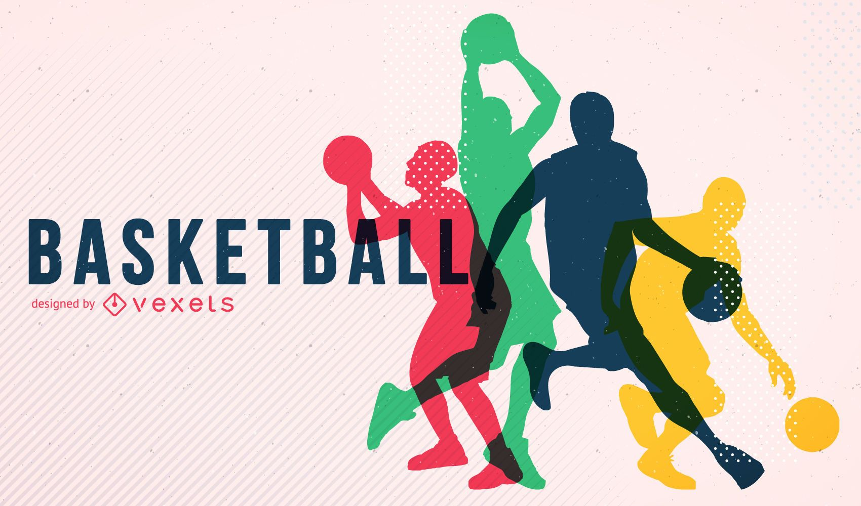 Póster silueta de baloncesto