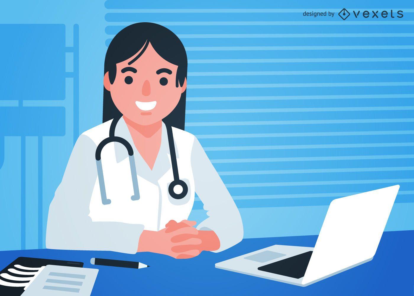 Doctora en ilustración de sala de consulta