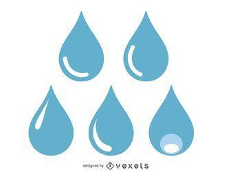 Conjunto de ilustração de gotas de água azul