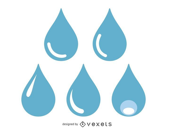 Blue water drops illustration set
