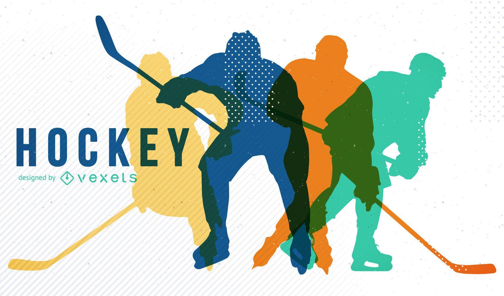 Diseño de hockey con siluetas