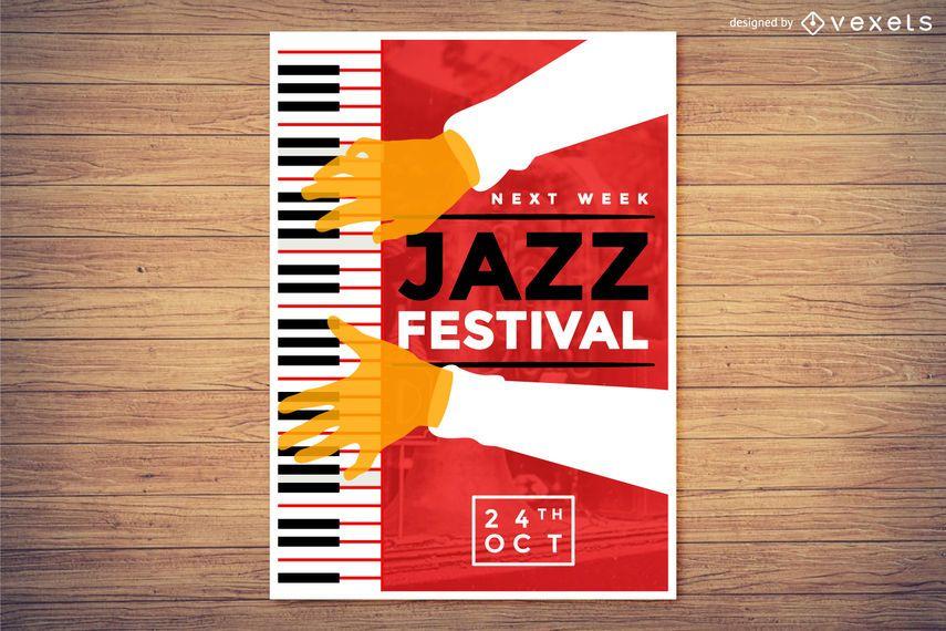 Cartel del festival de música de piano y jazz.
