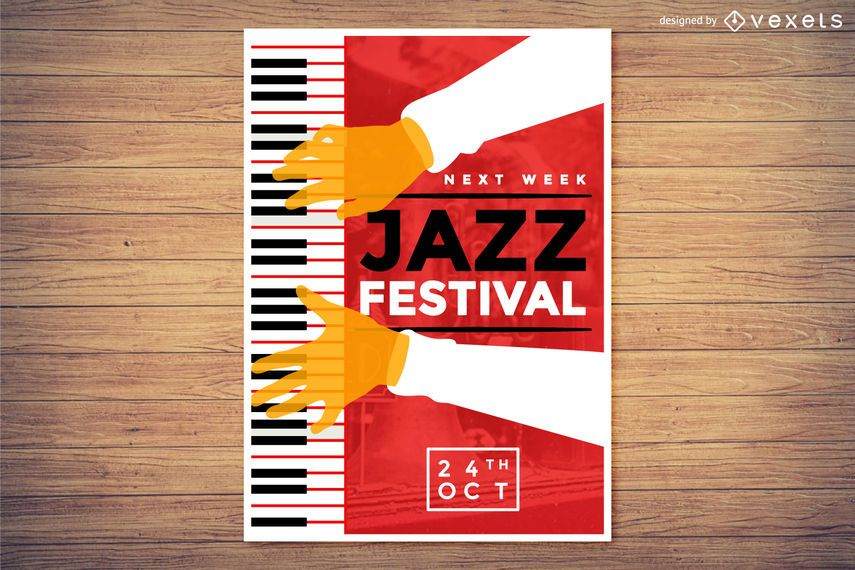 Piano and Jazz music festival poster