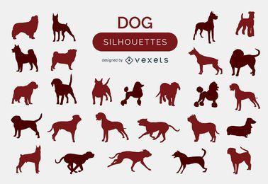 Coleção de silhuetas de cachorros