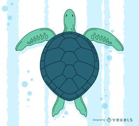 Hand drawn turtle swimming illustration