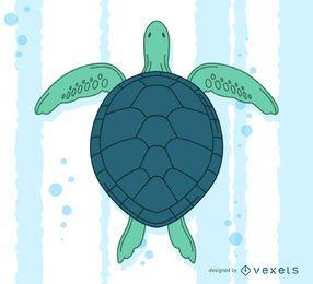 Mão, desenhado, tartaruga, natação, ilustração