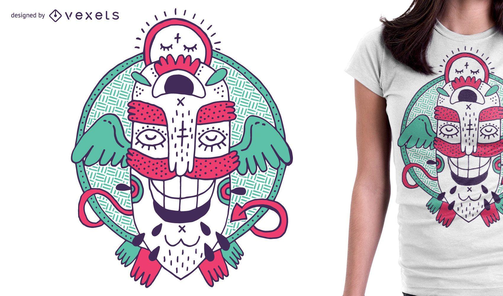 Divertido diseño de camiseta de monstruo para mercancía.