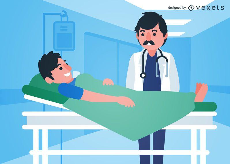 Ilustrado, doctor, ayudando, niño