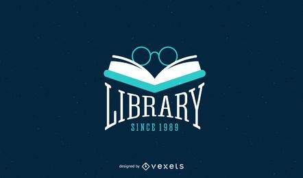 Design do modelo do logotipo da biblioteca